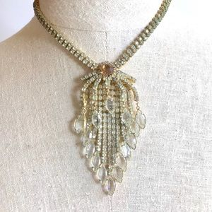 Art Deco Necklace Hollywood Rhinestone Fringe
